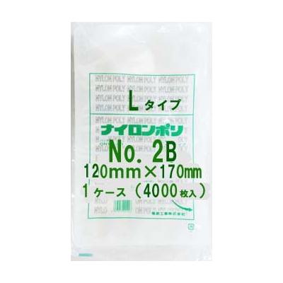 食品包装用 三方シール袋 ナイロンポリ 新Lタイプ規格ポリ袋 No.2B Vノッチ付 12cm×17cm 4,000枚 - 福助工業