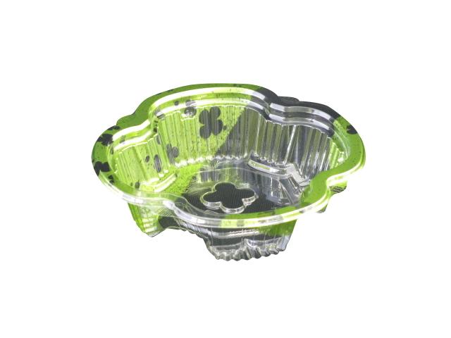 食品・惣菜用 クリーンカップ よつば 13-35B のどか緑 本体 + ふた 13-OC 12.4cm×12.4cm×3.4/2cm 900セット - リスパック