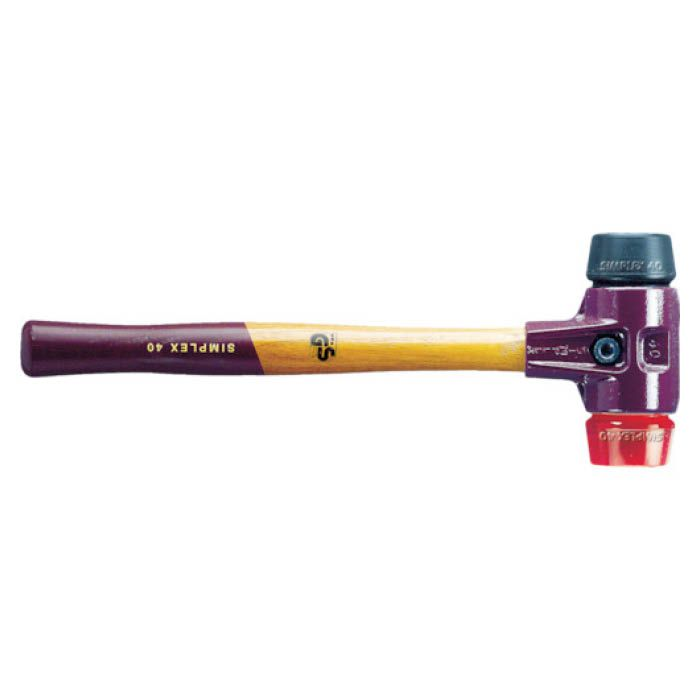 (T)HALDER シンプレックスハンマー ゴム(黒)プラスティック(赤)頭径60mm 4817753