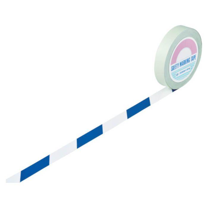 (T)緑十字 ガードテープ(ラインテープ) 白/青(トラ柄) 25mm幅×100m 148025