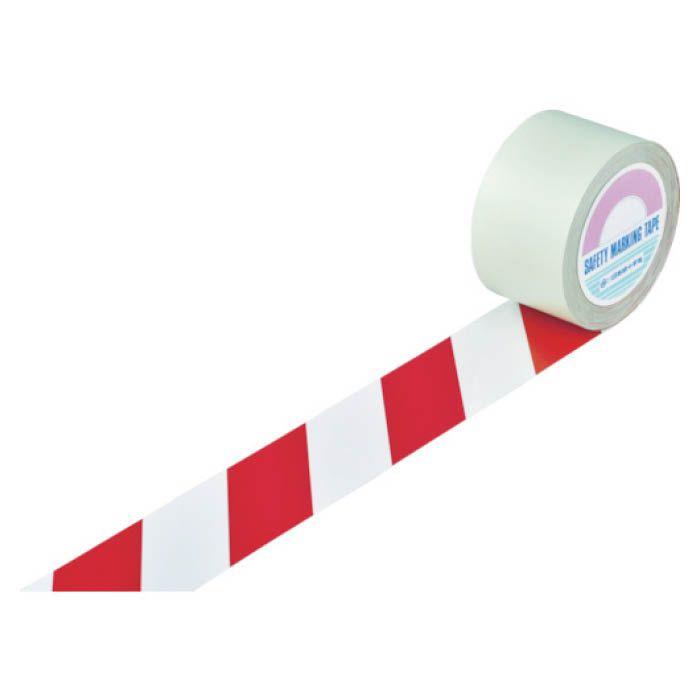 (T)緑十字 ガードテープ(ラインテープ) 白/赤(トラ柄) 75mm幅×100m 148103