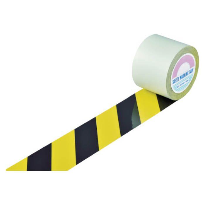 設置が容易なはく離紙付のラインテープです 表面にポリエステル加工が施されており耐久性に優れています T 緑十字 開催中 ガードテープ ラインテープ 黄 100mm幅×100m 黒 トラ柄 気質アップ 148142
