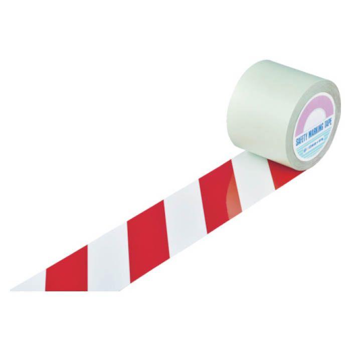 <title>設置が容易なはく離紙付のラインテープです 表面にポリエステル加工が施されており耐久性に優れています T 緑十字 ガードテープ お中元 ラインテープ 白 赤 トラ柄 100mm幅×100m 148143</title>