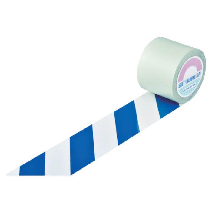 <title>設置が容易なはく離紙付のラインテープです 表面にポリエステル加工が施されており耐久性に優れています T 緑十字 ガードテープ ラインテープ 白 青 トラ柄 100mm幅×100m 148145 大特価!!</title>