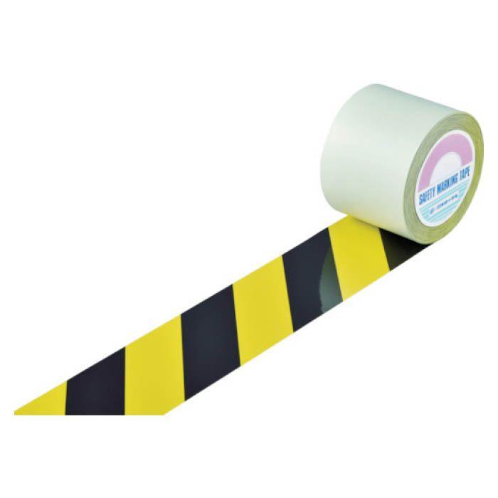 (T)緑十字 ガードテープ(ラインテープ) 黄/黒(トラ柄) 100mm幅×20m 148162