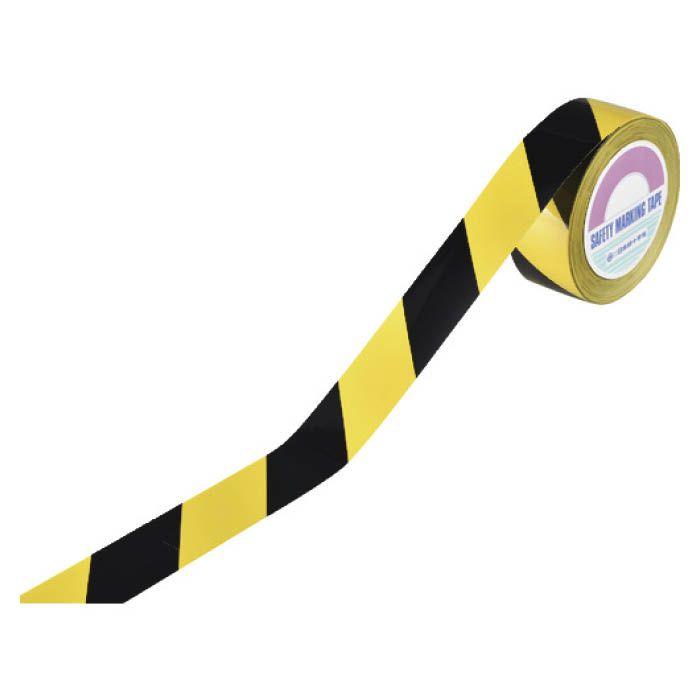 (T)緑十字 ラインテープ(ガードテープ) 黄/黒 再剥離タイプ 50mm幅×100m 149036