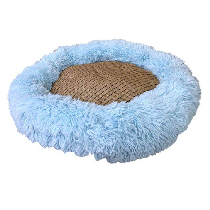 ペット用春夏ベッド 誕生日プレゼント ナフコ ふわもこ丸型サマーベッドブルー 期間限定お試し価格 L