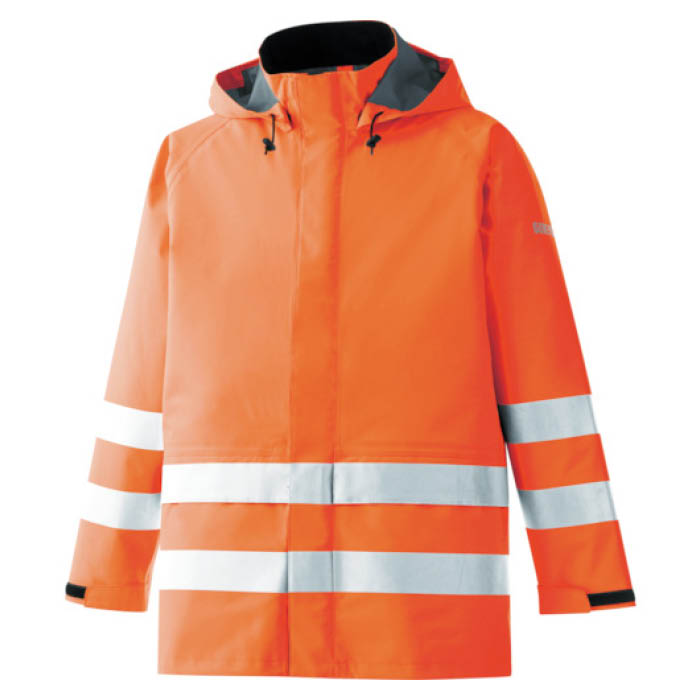 (T)ミドリ安全 雨衣 レインベルデN 高視認仕様 上衣 蛍光オレンジ S
