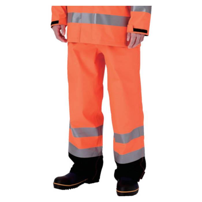 (T)ミドリ安全 雨衣 レインベルデN 高視認仕様 下衣 蛍光オレンジ M