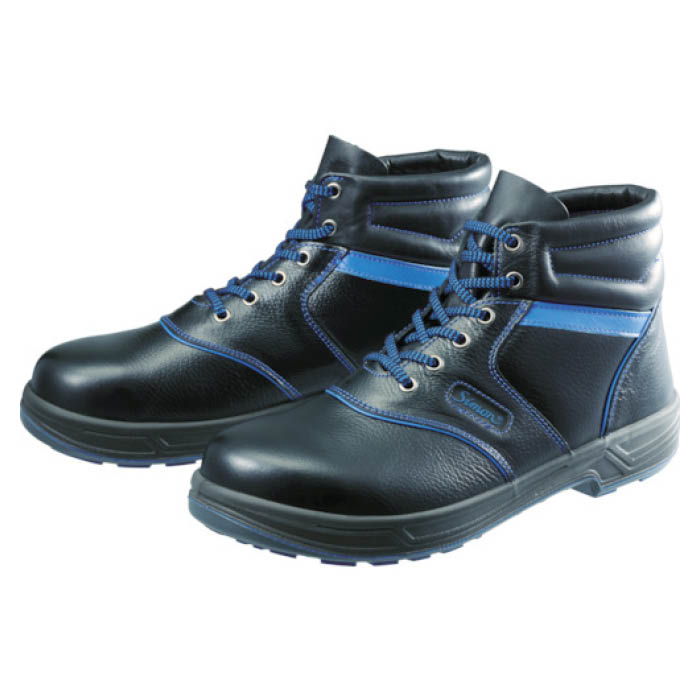 (T)シモン 安全靴 編上靴 SL22-BL黒/ブルー 25.5cm