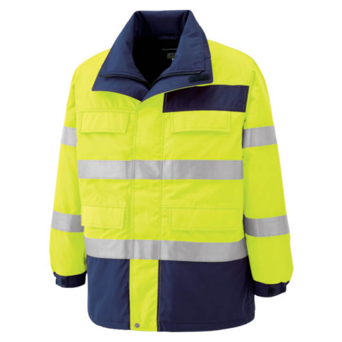 (T)ミドリ安全 高視認性 防水帯電防止防寒コート イエロー 5L