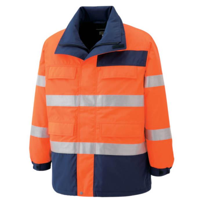 (T)ミドリ安全 高視認性 防水帯電防止防寒コート オレンジ M