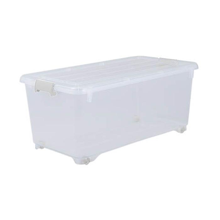 コロ付き収納ケース 押入れサイズ コロ付収納BOX 深型74クリア