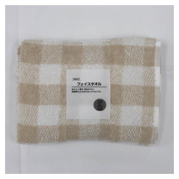 ご予約品 お手拭きや洗顔時に最適なフェイスタオルです ナカガワ 供え フェイスタオル BE ギンガムチェック