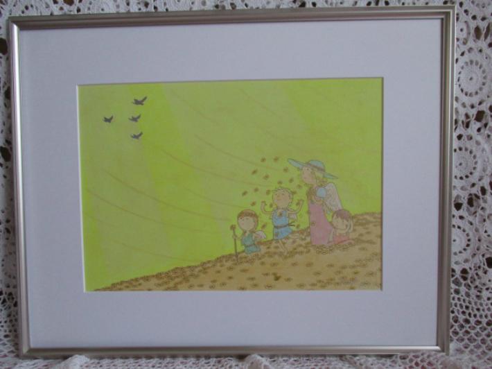 【送料無料】『平和への祈り』 絵画 額装 額入り 天使 親子 ハト 幸福 平和 祈り 笑顔 愛情 パステル画 黄色 アート おしゃれ 金運 西に飾ると吉