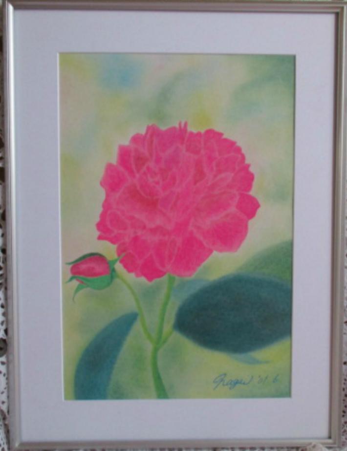 風水によるとピンクを主色とした絵なので 北側の部屋に飾ると吉とされています 送料無料 輸入 紫燕飛舞 ツーエンフェウー 絵画 チャイナローズ 額入り パステル画 未使用品 額装