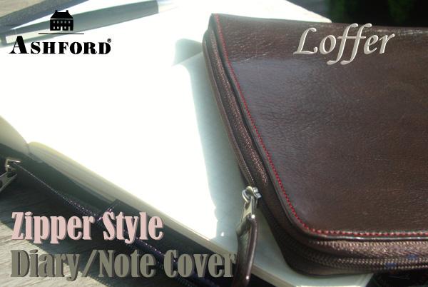 ASHFORD A5尺寸日記·筆記本覆蓋物拉鏈風格Loffer低毛皮