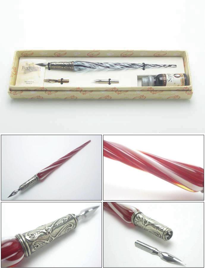ボルトレッティ Bortoletti Venetian glass Venetian ムラーノガラスペン axis giftset No03 (ボルトレッチ / ガラスペン / Venetian / Murano island / Italy / pen shaft and craft products)