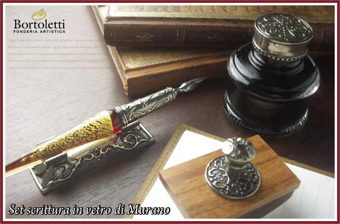 【イタリア製】【ガラスペン軸】ボルトレッティ Bortoletti インク付き ギフトセット No.52