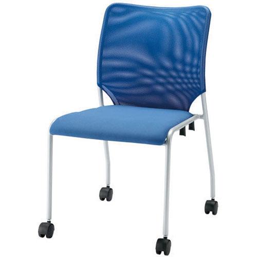 ジョインテックス 会議イス 肘なし キャスター付 ブルー GK-30MR (PLUS/スタッキング/オフィス/チェアー/会議椅子/ミーティングチェア)