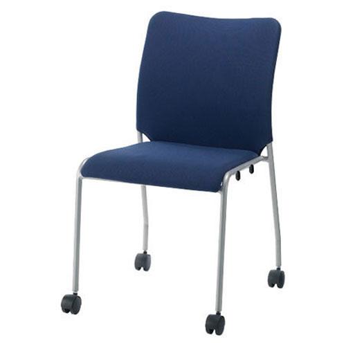 ジョインテックス 会議イス 肘なし キャスター付 ネイビー GK-30R (PLUS/スタッキング/オフィス/チェアー/会議椅子/ミーティングチェア)