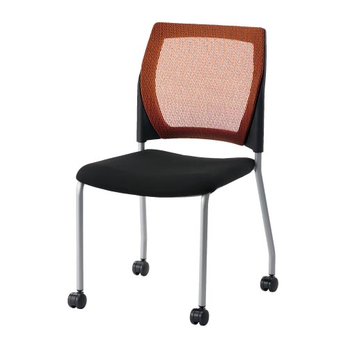 CMC 会議イス 4本脚 オレンジ MC-M10 (PLUS/スタッキング/オフィス/チェアー/会議椅子/ミーティングチェア)