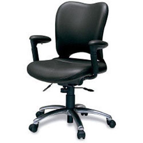 プラス オフィスチェア オーバル マネージメント ハイバック フロントアジャスト肘付 背座:本革張りブラック 本体色:ダークグレー KD-Z24LL (PLUS OVAL CHAIR/オフィスチェアー/パソコンチェア/デスクチェア)