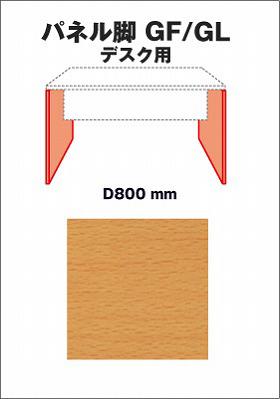 Garage fantoni デスク部材 デスクGF/DL用パネル脚 奥行80cm用 2枚入り GF-072H-B (ガラージ/ガレージ/オフィス家具/SOHO)