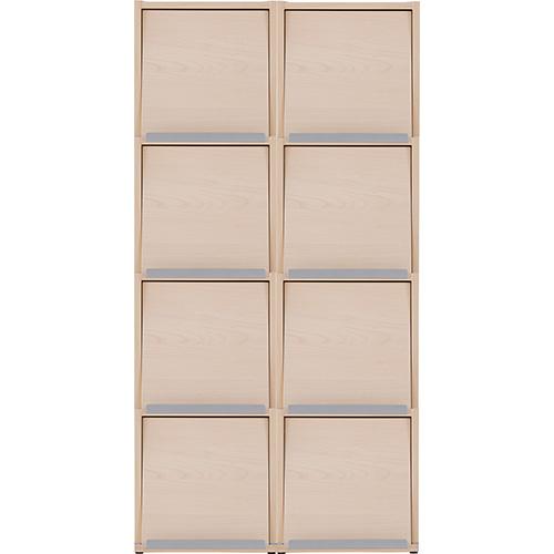 Garage 収納庫 マガジン収納 雑誌収納 キューブコンポ 2連4段 R350-24MG 白木 (ガラージ/ガレージ/オフィス家具/SOHO)