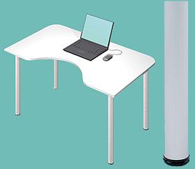 Garage デスク D2-M-AO 白/ホワイト 天板+脚 W1200×D700(500)×H715mm (ガラージ/ガラーヂ/ガレージ/オフィス家具/SOHO/ソーホー/事務所/おしゃれ/シンプル/通販机/ライティング/PC/ワーク/事務/学習/作業/デスク)