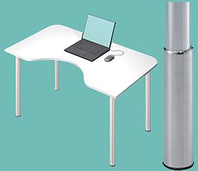 Garage デスク D2-M-SJ 白/ホワイト 天板+脚 W1200×D700(500)×H645-795mm (ガラージ/ガラーヂ/ガレージ/オフィス家具/SOHO/ソーホー/事務所/おしゃれ/シンプル/通販机/ライティング/PC/ワーク/事務/学習/作業/デスク)