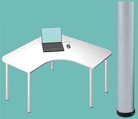 Garage デスク D2-L-SV 白/ホワイト 天板+脚 W1200×D1200×H715mm (ガラージ/ガラーヂ/ガレージ/オフィス家具/SOHO/ソーホー/事務所/おしゃれ/シンプル/通販机/ライティング/PC/ワーク/事務/学習/作業/デスク)