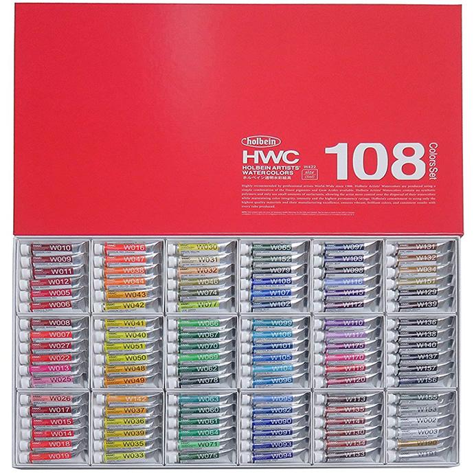 HOLBEIN 透明水彩 2号チューブ 全色(108色)セット W422 (ホルベイン/絵の具)