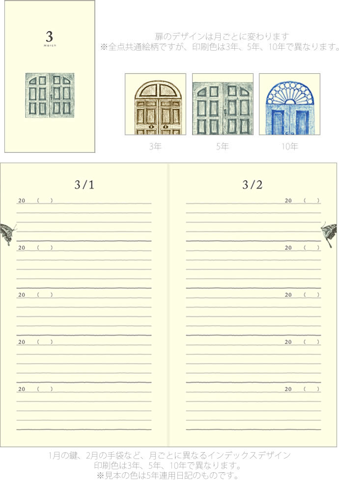 Midori 5 years continuous diary door (infinitive diary 5 year / diary / Journal / featured / fashion)