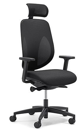 【受注生産 納期約2週間】 ジロフレックス 353 ヘッドレスト肘付きタイプ 353-9029RS ブラック (giroflex/オフィスチェアー/OAチェアー/パソコンチェア/イス/椅子)