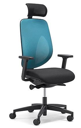 【受注生産 納期約2週間】 ジロフレックス 353 ヘッドレスト肘付きタイプ 353-9029RS ライトブルー (giroflex/オフィスチェアー/OAチェアー/パソコンチェア/イス/椅子)