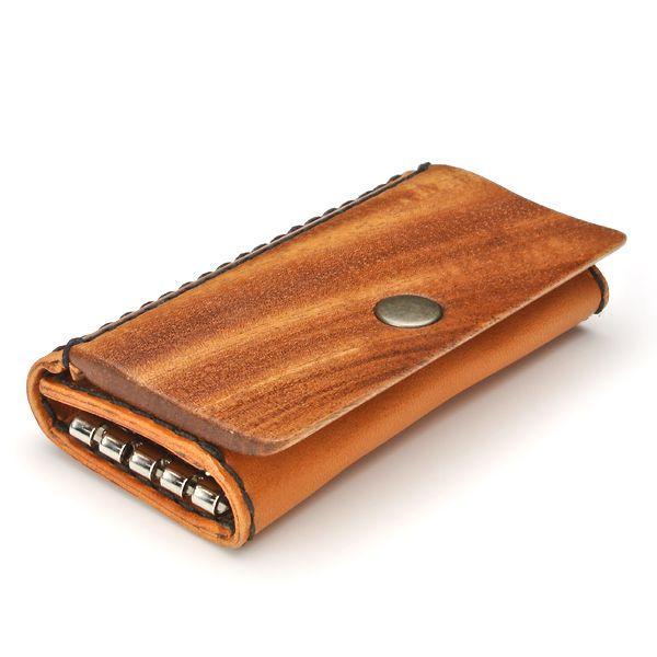 for key case04E 木と革のキーケース (LIFE/ライフ/職人手作り/キーホルダー)