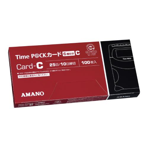 アマノ タイムカード 6欄印字 25日・10日締切 TIMEPACK6-Cカ-ド (1箱(100枚入))