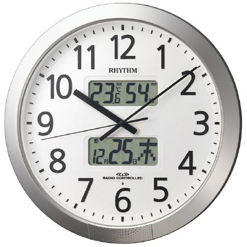 リズム時計 電波時計 プログラムカレンダー404SR 直径430×66mm 4FN404SR19 (1個)