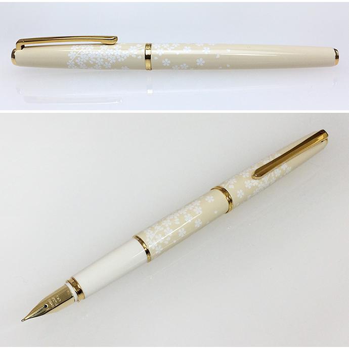 试点笔白娘子樱桃 / 枫笔设置笔为: F/M FD-18SR 试点 /Lady 白色钢笔与案例 / 好 / 氮杂 / 樱花 / 秋
