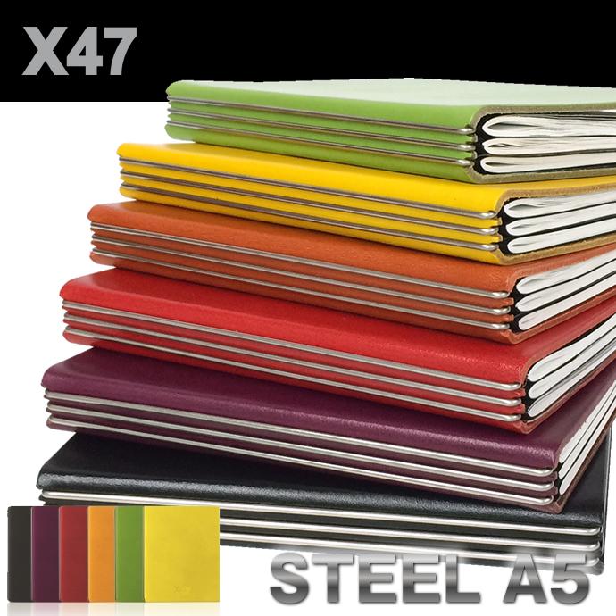 X47 STEEL A5サイズ リンドレザー リフィル付き 4スプリングバー (システム手帳/エックス47/カラー/スチール/スティール)