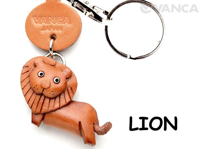 VANCA CRAFT獅子書皮革鑰匙圈任何地方示威動物