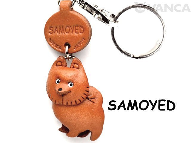 Samoyed dog key holder made of genuine leather VANCA CRAFT docodemowan Chan (Banca crafts / leather / handmade / gift / wrap / leather / original / leather craft / canine / dog)
