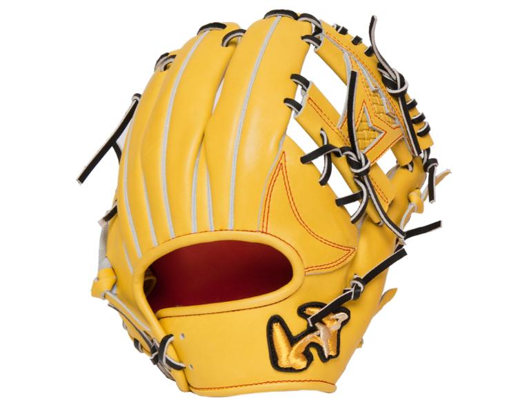 【売れ筋】 ワールドペガサス 硬式グローブ 内野手用 グランドペガサスTOP WGKGPT461(7722.ライムイエロー×ディープオレンジ) ブラック紐 高校野球対応 右投げ-野球・ソフトボール