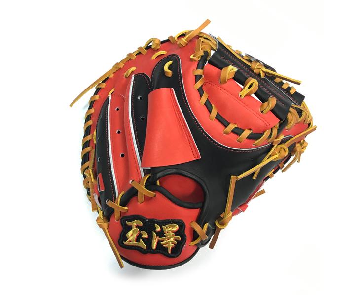 玉澤 少年軟式 少年野球用 キャッチャーミット カラーモデル ポケット深め ブラック×Dオレンジ 右投げ