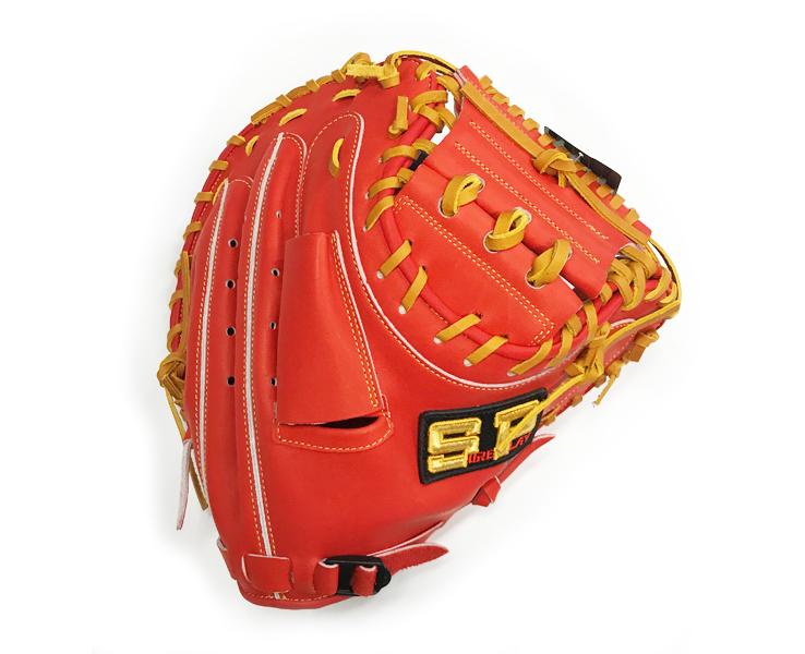 シュアプレー キャッチャーミット 硬式キャッチャーミット 低価格 SBMBP280(レッドオレンジ×タン) 学生野球対応 和牛革 右投げ