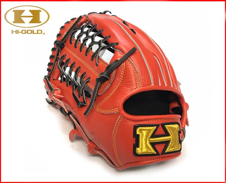 ハイゴールド 軟式グローブ 外野手用 一般 野球 オールラウンド エキップメント OKG-6125 (ファイヤーオレンジ) 左投げ 天然皮革