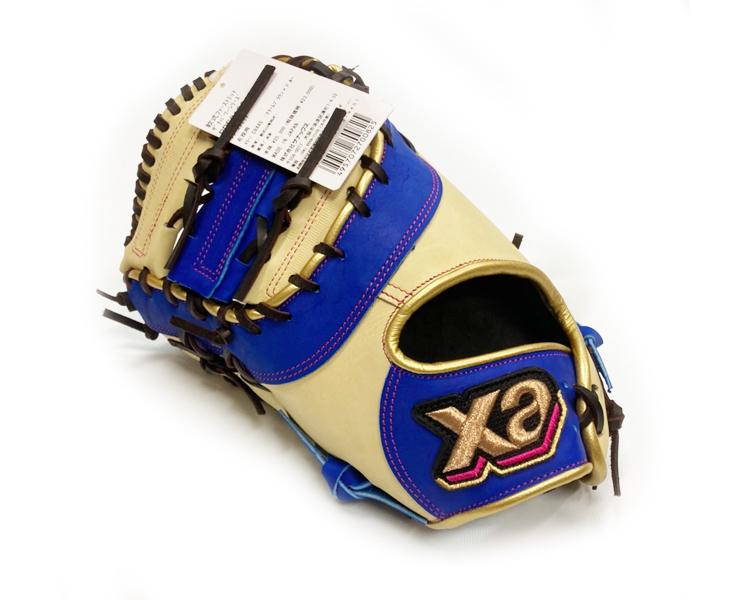 例年大人気のカラーミットシリーズ 新品 ザナックス 予約販売品 野球 軟式グローブ ソフトボール 軟式野球 左投げ 一塁 クリームブラウン×ブルー 日本製 ファーストミット