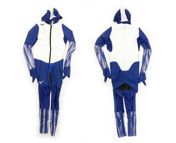 送料無料 スピードスケートワンピース レーシングウェアー スピードスケート パシュート アイススケート ホワイト×ブルー×クラッシュ ウレタンラミネート トリコット