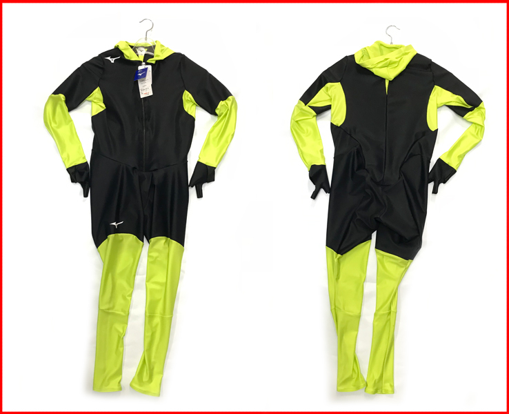 ジュニア スピードスケートワンピース ミズノ レーシングスーツ Z2JH8E34 ブラック×グリーン